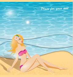 summer background and girl vector image
