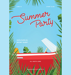 Summer party poster trendy vertical placard with vector