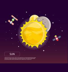 Sun mercury and venus of solar system design vector