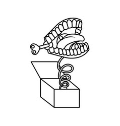 Surprise box with funny joke teeth icon vector