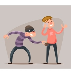 Thief Steals a Purse from Hapless Guy Character vector image vector image