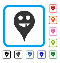 Toothless smiley map marker framed icon vector