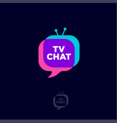 tv chat bubble and fun screan vector image