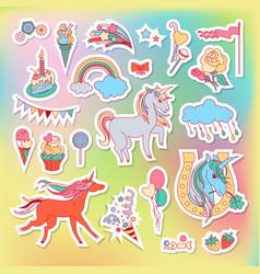 Unicorn multicolor stickers with rainbow unicorn vector