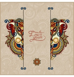 Unusual floral ornamental template in beige colour vector