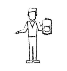 vet man with cat pet accessory sketch vector image