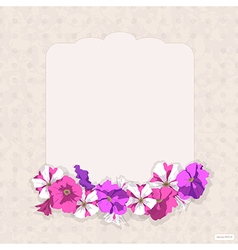 Vintage card with flowers petunias vector