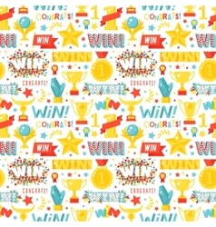 Winner seamless pattern with gold cup vector image
