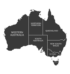 Australia map with labels black vector image
