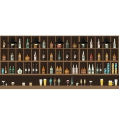 Bar counter with drinks vector image