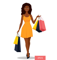 Beautiful african american woman with bags vector
