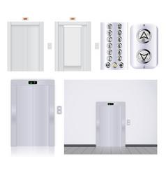 Elevator buttons panel elevator with open doors vector