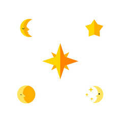 Flat icon bedtime set of lunar moon asterisk and vector