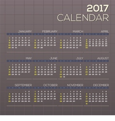 2017 Printable Calendar Starts Sunday Grid Graphic vector image