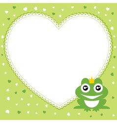 Frog prince with heart shape frame vector