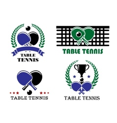 Ping-pong and table tennis symbols vector image