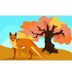 Fox on hill with oak animals and nature vector