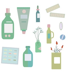 Medical drugs and bottles - for herbal medicine vector