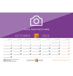 Desk calendar 2016 print template october week vector