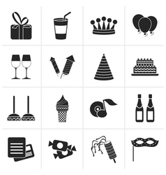 Black birthday and party icons vector