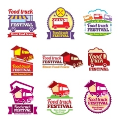 Street food festival color labels set vector