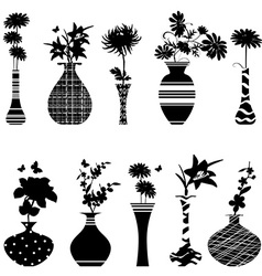Collection of handmade vases with flowers for your vector