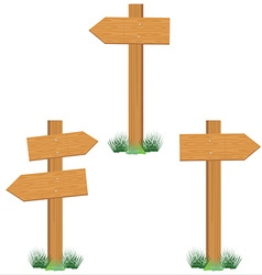 Wooden sign post set vector