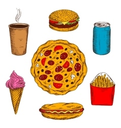 Fast food lunch menu colored sketch icon vector