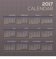 2017 printable calendar starts sunday grid graphic vector