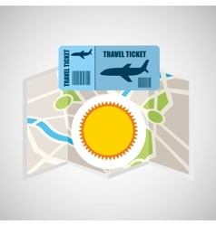 airline ticket map travel sun summer vector image vector image