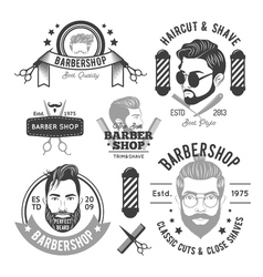 Barbershop monochrome emblems vector