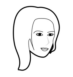Black silhouette cartoon side profile face woman vector
