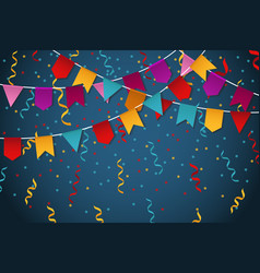 blue flag garland party celebration background for vector image