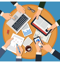 Business Meeting Concept Top View of Desk vector image