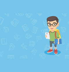 caucasian boy holding cellphone and schoolbook vector image vector image