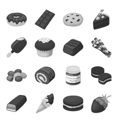 Chocolate desserts set icons in monochrome style vector