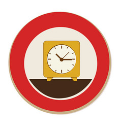 Circular frame with alarm clock vector