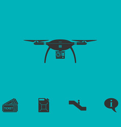 Drone quadrocopter icon flat vector