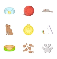 Equipment for care of pets icons set cartoon style vector