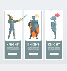 Flat set of vertical banners with medieval vector