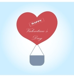 Greeting Card Valentine s Day with a hot air vector image vector image