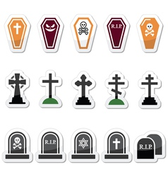 Halloween graveyard icons set - coffin cross gr vector