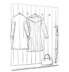 Hand drawn wardrobe sketch with clothes vector