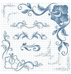 Ink hand-drawn line border set vector image