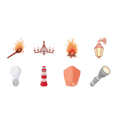light source icons in set collection for design vector image