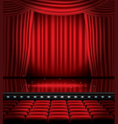 open red curtains with seats and copy space vector image