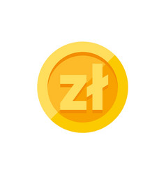Polish zloty currency symbol on gold coin flat vector