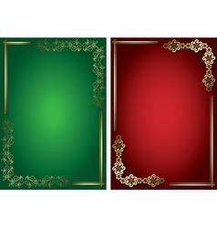 red and green cards with golden frames vector image vector image