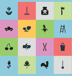 Set of 16 editable agriculture icons includes vector