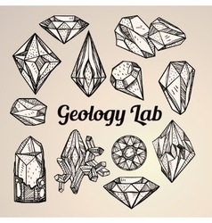 Set of hand drawn crystal gems geology vector